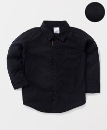 Babyhug Full Sleeves Solid Shirt With One Pocket - Black