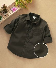 Babyhug Full Sleeves Solid Shirt With One Pocket - Olive Green