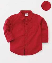 Babyhug Full Sleeves Solid Shirt With One Pocket - Red