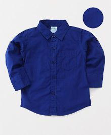 Babyhug Full Sleeves Solid Shirt With One Pocket - Royal Blue