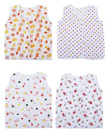 Orange and Orchid Printed Front Button Jhabla Vests Pack of 4 - White Multicolor