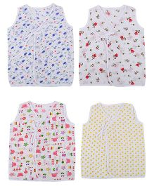 Orange and Orchid Printed Front Knot Baby Jhabla Vests Pack of 4 - White Multicolor