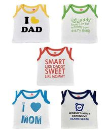 Orange and Orchid Sleeveless Text Print T-Shirt Pack Of 5 - White Multicolor