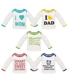 Orange and Orchid Full Sleeves Text Print T-Shirt Pack Of 5 - White Multicolor