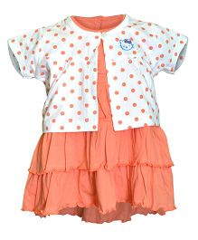 Orange and Orchid Frock With Half Sleeves Shrug - Peach & White