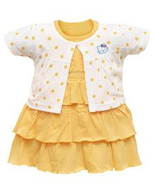 Orange and Orchid Frock With Half Sleeves Shrug - Yellow White