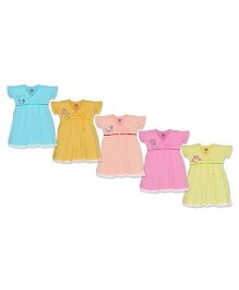 Orange And Orchid  Short Sleeves Frocks Pack of 5 - Multicolour