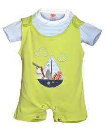 Orange and Orchid Embroidered Dungaree With Stripes Inner Tee - Green Blue
