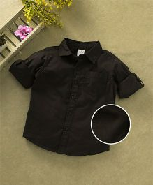 Babyhug Full Sleeves Solid Shirt With One Pocket - Coffee Brown