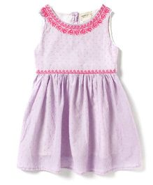 Sequences Swiss Dot Dress With Embroidery - Light Purple
