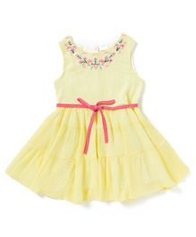 Sequences Embroidered Dress With Ribbon Belt - Yellow