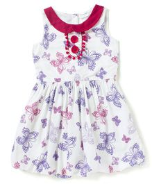 Sequences Butterfly Printed Dress With Pom Pom - White