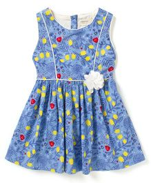 Sequences Printed Dress With Pipping & Flower Detail - Blue
