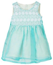 Sequences Feather Net Embroidered Dress - Sea Green