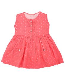 Sequences Polka Print Dress With Heart Pocket - Coral