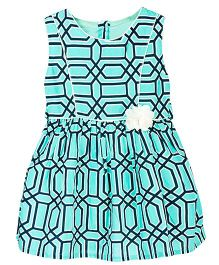 Sequences Geometrical Print Dress With Pipping - Green