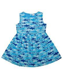 Sequences Fish Print Dress - Blue