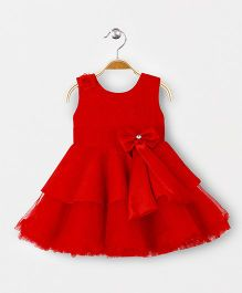 Babyhug Sleeveless Party Tiered Frock Floral & Bow Applique - Red