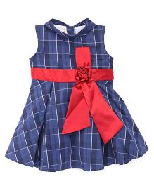 Happy Face Sleeveless Collar Check Frock - Dark Blue & Red