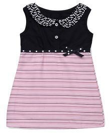 Happy Face Sleeveless Embroidered Peter Pan Collar Frock - Black & Pink