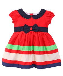 Happy Face Short Sleeves Peter Pan Collar Frock - Red