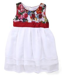 Happy Face Sleeveless Frock Floral Print - Red White