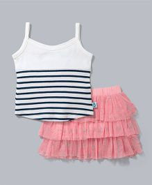 Cuddledoo Singlet Stripe Top And Tulle Skirt Set - White Blue Pink