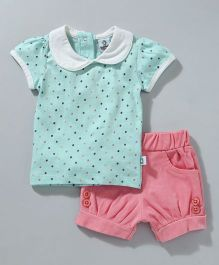 Cuddledoo Top And Corduroy Shorts - Blue Pink