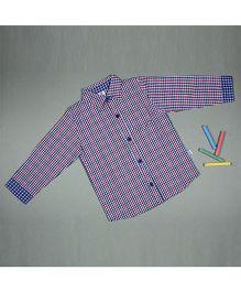 Cuddledoo Cuff Check Shirt - Red And Blue