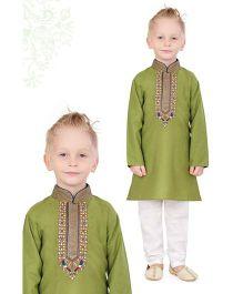 Ethnik's Neu-Ron Embroidered Kurta And Pajama Set - Mehandi Green