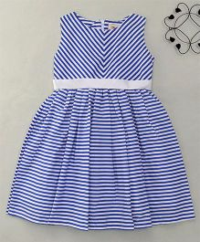 The KidShop Sassy Zigzag Striped Dress - Blue & White