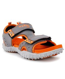 Footfun Floater Sandals With Velcro Closure - Orange Grey
