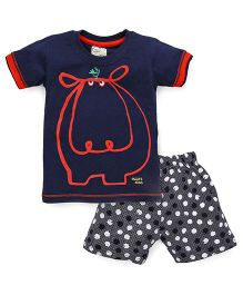 Olio Kids Half Sleeves T-Shirt And Dotted Shorts Hippo Print - Navy