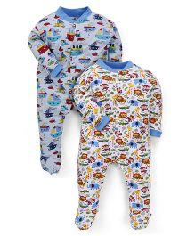 Kidi Wav Boat And Animal Print Bodysuit Pack Of 2 - Blue