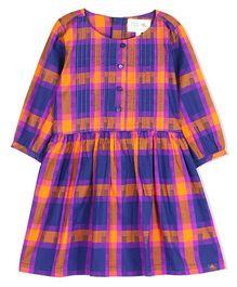 Cherry Crumble California Checkered Shirt Dress - Purple & Orange