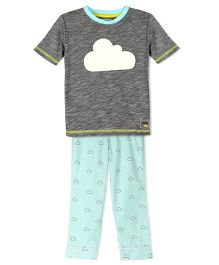 Cherry Crumble California Jersey Woven Tee & Pyajama Set - Grey & Blue