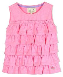 Cherry Crumble California Ruffle Knitted Top - Pink