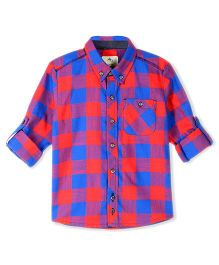 Cherry Crumble California Checkered Shirt - Red & Blue