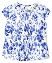 Cherry Crumble California Floral Printed Lace Top - White & Blue