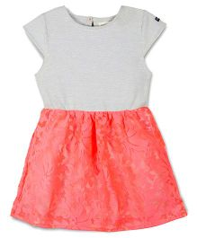 Cherry Crumble California Knit Lace Dress - Gray Neon & Pink