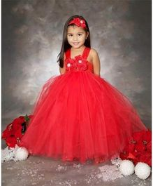 Pre Order - Mauve Collection High Waist Strap Flower Applique Tutu Gown - Red