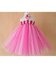Pre Order - Mauve Collection Bodice Rose Applique Tutu Gown - Pink & White
