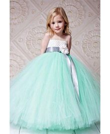 Pre Order - Mauve Collection High Waist Belted Flower Applique Tutu Gown - Aqua