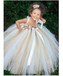 Pre Order - Mauve Collection Dual Tone Rose Bodice Tutu Gown - White & Brown
