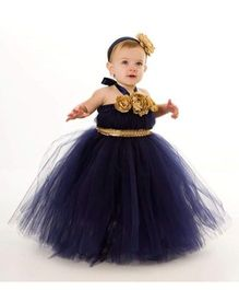 Pre Order - Mauve Collection Contrast Belt & Flower Applique Tutu Gown - Golden & Voilet