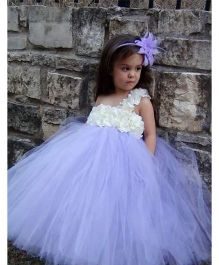 Pre Order - Mauve Collection High Waist Flower Applique Bodice Tutu Gown - Blue & White
