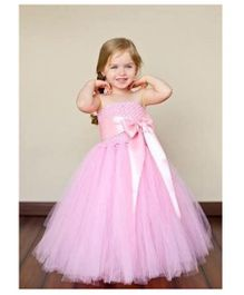 Pre Order - Mauve Collection Bow Applique Gathered Waist Line Tutu Gown - Pink