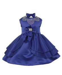 Pink Wings Sleeveless Party Frock With Headband - Royal Blue
