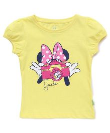 Bodycare Half Sleeves Tee Minnie Mouse Print - Yellow