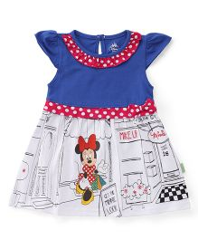 Bodycare Cap Sleeves Frock Minnie Mouse Print - Blue White